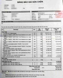 bảng báo giá thay thế phụ tùn xe oto tại Việt Nam