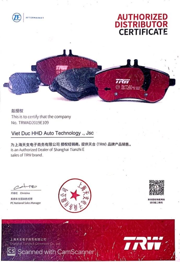 Certificate ZF-TRW